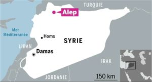 Carte de situation de la ville syrienne d'Alep