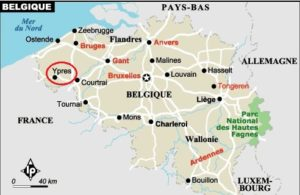 Carte de situation de la ville d'Ypres (Belgique)