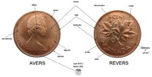 Avers et revers d'une pièce canadienne de 1 cent de 1970
