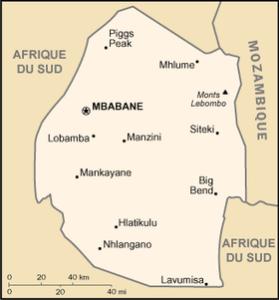 Carte de l'Eswatini (ex-Zwaziland)