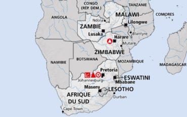 Carte de situation de l'Eswatini (ex-Swaziland) en Afrique australe