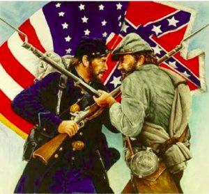 Un soldat nordiste au corps à corps avec un soldat sudiste