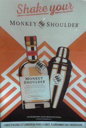 """Affiche publicitaire française pour le whiskey """"Monkey Shoulder"""" d'octobre 2019"""