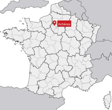 Carte de situation du village de Faucon-de-Barcelonnette (04)de la ville d'Achères (78)