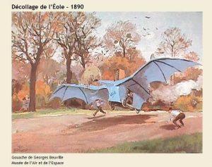 Le décollage de l'Éole de Clément Ader, en 1890