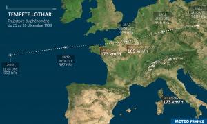 Carte de la tempête Lothar des 25 et 26 décembre 1999