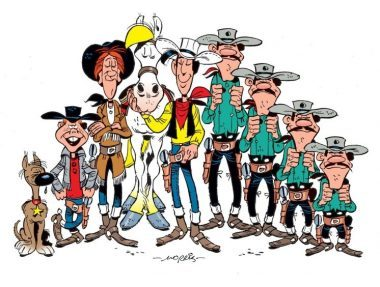 Rantanplan, Billy the Kid, Calamity Jane, Jolly Jumper, Lucky Luke, Averell, William, Jack et Joe Dalton.