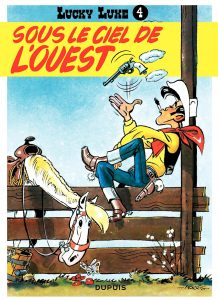 """Couverture de l'album de Lucky Luke """"Sous le ciel de l'Ouest""""."""