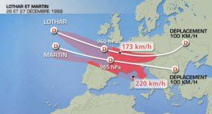 Traejectoires des tempêtes des 26 et 27 décembre 1999.