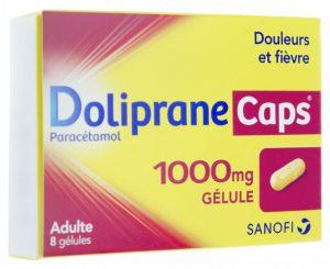 Boîte de Doliprane Caps 1000 mg des Laboratoires Boiron-Dolisos du groupe Sanofi