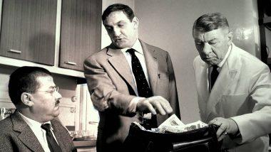 """""""Les cons ça ose tout, c'est même à ça qu'on les reconnaît !"""". Francis Blanche, Lino Ventura et Robert Dalban, dans le film français """"Les tontons fligueurs"""", de Georges Lautner (1963)"""