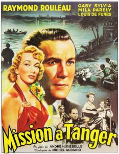 """Affiche du film français """"Mission à tanger (1949) de André Hunebelle, premier film à avoir été dialogué par Michel Audiard"""