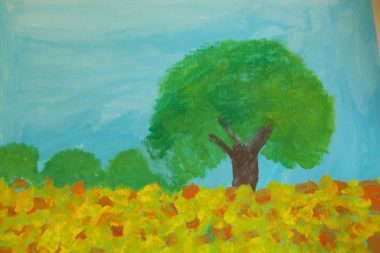 Dessin d'enfant réalisé à la peinture