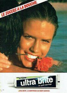 """Publicité de presse écrite pour le dentifrice """"Ultra Brite"""" (1980)"""