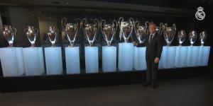Florentino Perez Rodríguez, président du Real Madrid, devant les 13 coupe des champions remportées par son club