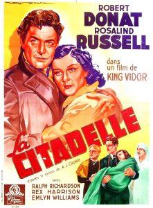 """Affiche du film du film """"La citadelle"""" de King Vidor (1938) d'après le roman de A.J. Cronin"""
