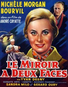 """Affiche du film français """"Le miroir à deux faces"""" de Gérard Oury (1958)"""