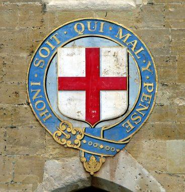 Le blason du très noble ordre de la Jarretière, fondé le 23 avril 1348, le plus élevé des ordres de chevalerie britanniques et le plus ancien subsistant encore au XXIe siècle.