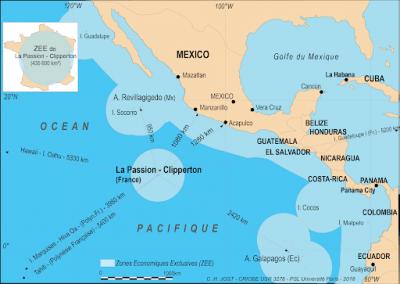Carte de situation géographique de l'île de Clipperton