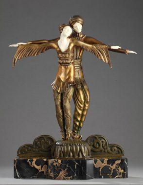 """"""" Couple de Danseurs Slaves"""" : sculpture art déco de Luielle Sévin, en chryséléphantine, bronze et ivoire sur socle en marbre (hauteur : 52,5 cm)"""