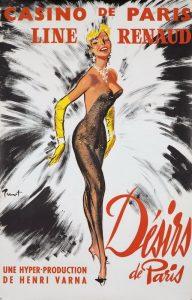 """Affiche du spectacle """"Désirs de Paris"""" au Casino de Paris, avec en vedette la meneuse de revue Line Renaud"""