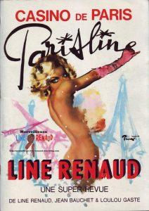 """Affiche du spectacle """"Parisline"""" au Casino de Paris, avec en vedette la meneuse de revue Line Renaud"""