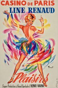 """Affiche du spectacle """"Plaisirs"""" au Casino de Paris, avec en vedette la meneuse de revue Line Renaud"""