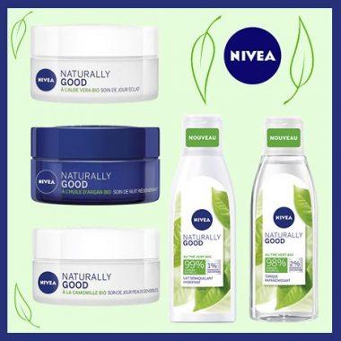 """Produits de soin de la gamme """"naturally good"""", de Nivea"""