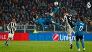 L'incroyable retourné acrobatique de Cristiano Ronaldo le 4 avril 2018, contre la Juventus de Turin, en quart de finale aller de la Ligue des champions.