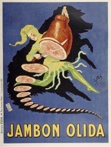 Publicité pour la marque de charcuterie française Olida, créée en 1855 par Ernest Olida