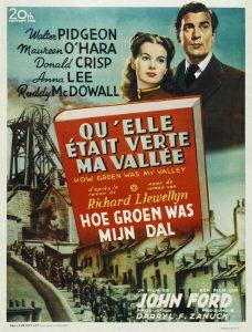 """Affiche du film états-unien """"Qu'elle était verte ma vallée"""" de John Ford (1942)"""