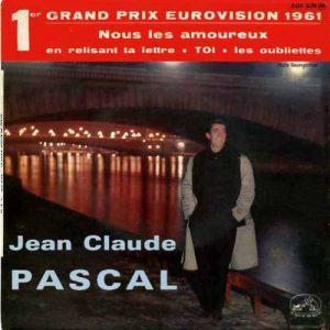"""Le disque super 45 tours de Jean-Claude Pascal """"Nous les amoureux"""", 1er grand prix de l'Eurovision 1961"""