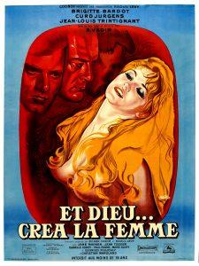 """Affiche du film français """"Et Dieu... créa la femme"""" de Roger Vadim (1956)"""