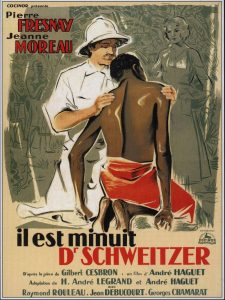 """Affiche du film français """"Il est minuit Dr Scweitzer"""" d'André Haguet (1952)"""