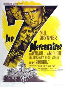 """L'affiche du film états-unien """"Les 7 mercenaires"""" de John Sturges (1960)"""