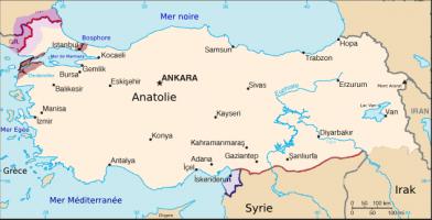 Carte de l'Anatolie ou Asie Mineure