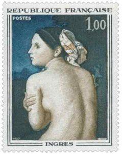 Timbre-poste français de 1967 représentant la Baigneuse de Jean-Auguste-Dominique Ingres (1807)