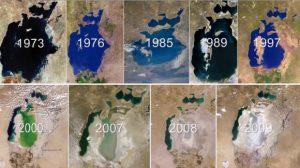 La disparition progressive de la mer d'Aral, vue par satellite