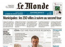 """Un titre du journal """"Le Monde"""" imprimé """"cinq colonnes à la une"""""""