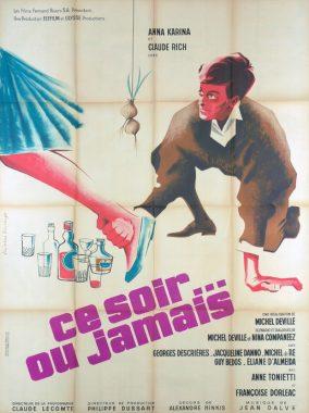 """Affiche du film français """"Ce soir ou jamais"""" de Michel Deville (1961)"""
