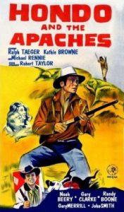 """Affiche en anglais du téléfilm """"Hondo et les apaches"""" de Lee H. Katzlin (1967)"""