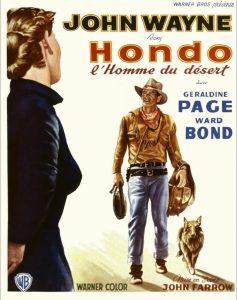 """Affiche du film états-unien """"Hondo, l'homme du désert"""" de John farrow (1953)"""