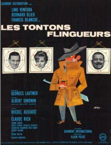 """Affiche du film français """"Les tontons flingueurs"""" de Georges Lautner (1963)"""