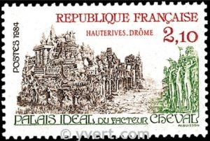 Timbre-poste français de 1984 consacré au Palais idéal du Facteur Cheval