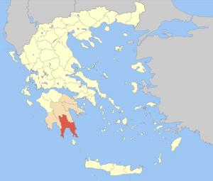 Localisation de la Laconie, en Grèce