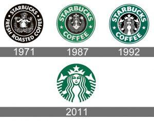 Logos successifs de l'enseigne états-unienne Starbucks