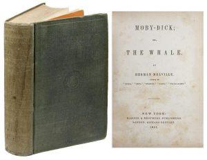 """Édition originale de 1851 du roman états-unien """"Moby Dick"""" de Herman Melville (1851)"""