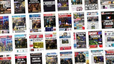 Unes de journaux du monde entier, après les attaques terroristes perpétrées vendredi 13 novembre 2015 à Paris (75), au cours desquelles 130 personnes ont trouvé la mort et 400 ont été blessées