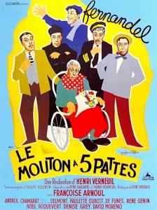 """Affiche du film français """"Le mouton à cinq pattes"""" de Henri Verneuil (1954)"""
