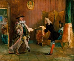 """Le bourgeois gentilhomme"" Tableau du peintre anglais William Powell Frith (1850)"